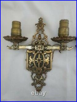 Pair Large Vintage Electric Brass Neo Classical Gothic Wall Sconces 1920s 13H