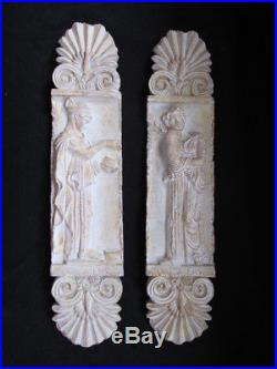 Pair Of Grecian Or Roman Plaques Wall Art Figures 21.5 Tall