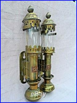Pair Of Vintage Gwr Brass Carriage Wall Candle Lamps Complete In Excellent Condi
