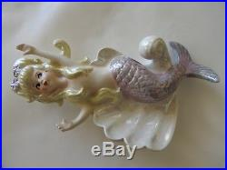 Pair Of Vintage Lefton Mermaids On Shell Hanging Wall Plaque Japan