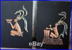 Pair Of Vintage Pepe Mendoza Mexico Azurite Inlay Stone Wall Art Frame Plaques