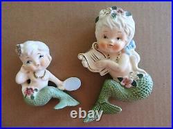 Pair Of Vintage Tilso Mermaids Hanging Wall Plaque Japan