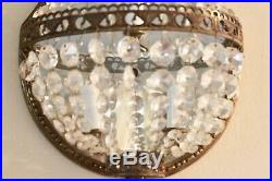 Pair VTG French Empire Style Faceted Crystal & Brass Lighted Wall Sconces 20