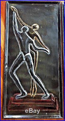 Pair VTG MCM 1950s Embossed Black Metal Dancers Plaques Wall-Hangings El Tobo