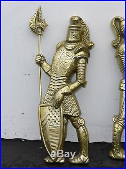 Pair Vintage 33 Tall WALL PLAQUES RENIASSANCE SOLDIERS Medievil KNIGHTS