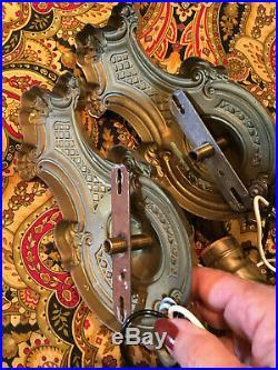 Pair Vintage Antique Cast Brass Electric Wall Sconces