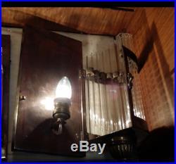 Pair Vintage Art Deco Metro Theatre Light Brass Case Glass Rod Wall Sconces Lamp