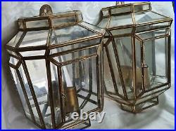 Pair Vintage Brass Glass Mirror Back WALL LANTERN LIGHTS collectors cabinets