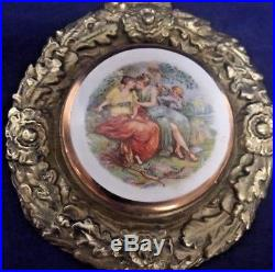 Pair Vintage Brass Wall Hanging Plaques with Enamel Medallions Victorian Scene