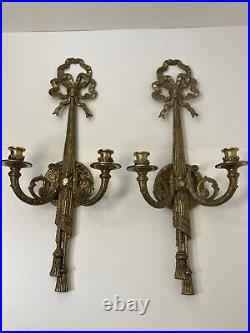 Pair Vintage Bronze Brass French Tassel Double Candle Wall Sconce