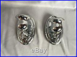 Pair Vintage Chrome Brass Wall Sconce Old Art Deco Light Fixtures 337-17J