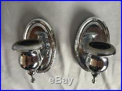 Pair Vintage Chrome Brass Wall Sconce Old Art Deco Light Fixtures 337-17J
