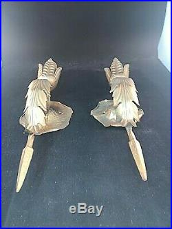 Pair Vintage Iron and Brass Spanish Revival Wall Sconces