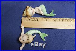 Pair Vintage Lefton Japan Ceramic MERBABY Mermaid Wall Plaque Japan Figurine