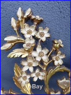Pair Vintage Mid Century Syroco Gold & White Floral Branches Wall Plaques