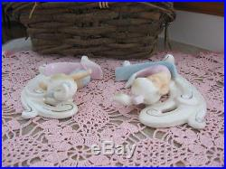 Pair Vintage Norcrest Surfing Mermaids P826 Japan Riding Waves Wall Plaque EXC