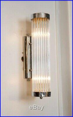 Pair Vintage Old Art Deco Chrome Brass & Glass Rod Ship Light Wall Sconces Lamp
