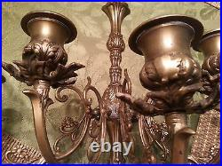 Pair of Beautiful Vintage Brass / Bronze 5 Candelabra Wall Sconces