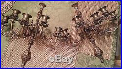 Pair of Beautiful Vintage Bronze Brass 5 Candelabra Wall Sconces
