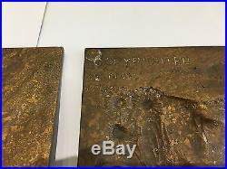 Pair of Bronze Wall Plaques Marguerite Mignon Vintage Hanging Metal Art Square