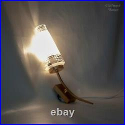 Pair of FRENCH Vintage MCM Gold Metal 50s/60s Wall Lights with Glass Cone Shades