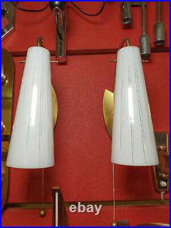 Pair of Mid-Century Modern Wall Lamps Sconces Brass Glas Vintage 1950s
