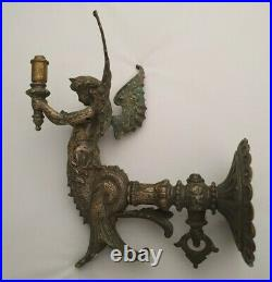 Pair of Victorian Angel gas wall lights