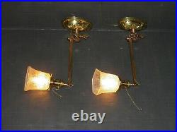 Pair of Victorian, Ant/Vintage, Gas/Electric, solid brass swiveling wall sconces