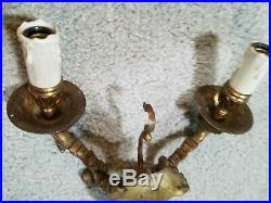 Pair of Vintage 2 Arm Heavy Brass Electric Wall Light Candelabra Prism Sconces