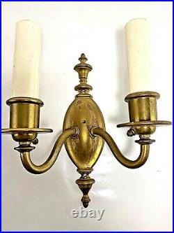 Pair of Vintage Antique Brass Candle Wall Sconces Light Fixtures 10