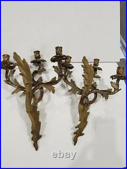Pair of Vintage Art Nouveau Solid Brass 3-Arms Wall Sconces Candle Holders