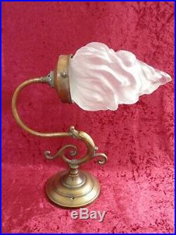 Pair of Vintage Brass Wall Lights with Flame Shaped Glass Shades x 2 Lights