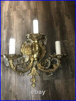 Pair of Vintage Crystal Italian wall sconces Italy Brass