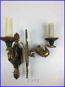 Pair of Vintage French Empire Style Brass Swan Arm Wall Light Sconces Bronze