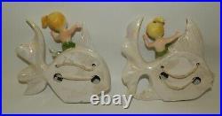 Pair of Vintage Iridescent Ceramic Mermaids Riding Fish Wall Plaques