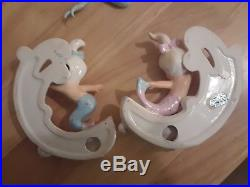 Pair of Vintage Norcrest CERAMIC MERMAIDS RIDING THE WAVES wall plaque figurines