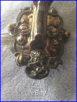 Pair of Vintage Ornate Silver Brass Three-Arm Double Wall Sconces Lights