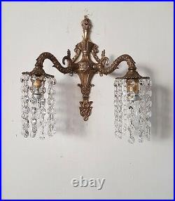 Pair of Wall Lights Down Lights with Strings of Crystals Vintage Bohemian
