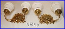 Pair of vintage ornate Spanish clam shell milk glass brass electric wall sconces