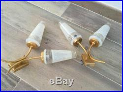 Pair vintage french brass Wall LIGHT SCONCES, mid century
