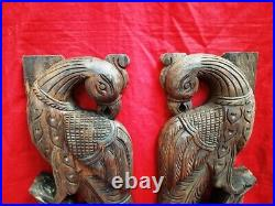 Peacock Yali Wall Panel Pair Wooden Handcarved Corbel Vintage Plaque Home Decor