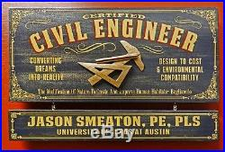 Personalized CIVIL ENGINEER Vintage Wood Plank Sign, Office, Home, Man Cave Gift