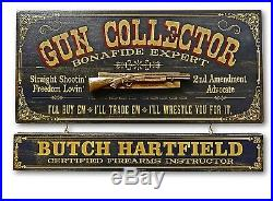 Personalized GUN COLLECTOR Vintage Wood Plank Sign, Office, Home, Man Cave