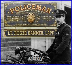 Personalized POLICEMAN Vintage Wood Plank Sign, Office, Home, Man Cave, Women