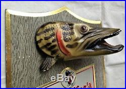 Pfeiffer Beer Muskie Fish Wall Plaque Chalkware Vintage 1950's Bar Man Cave