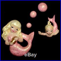 Pink Mermaid Sister Wall Plaque Hanging Very Elegant! Great for Vintage Bath
