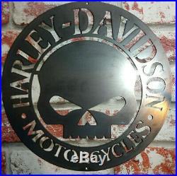 Premium Harley Davidson Willie G Skull Metal Sign Hand Finished Motor Cycle
