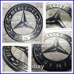 Premium Mercedes Benz Car Logo Metal Sign Hand Finished Man Cave Wall Art car