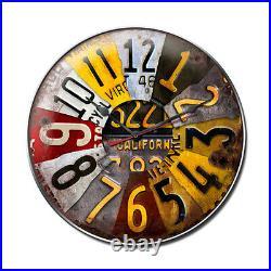 Quartz Vintage Automotive License Plate Steel Metal Garage Wall Clock 14 x 14