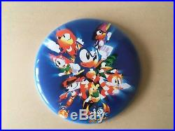 RARE 12 Vintage SONIC THE FIGHTERS metal wall plaque prize disc Sega hedgehog